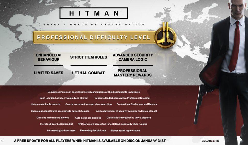 El Nivel de Dificultad Profesional llega a HITMAN