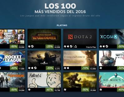 Los 100 videojuegos más vendidos en Steam en 2016