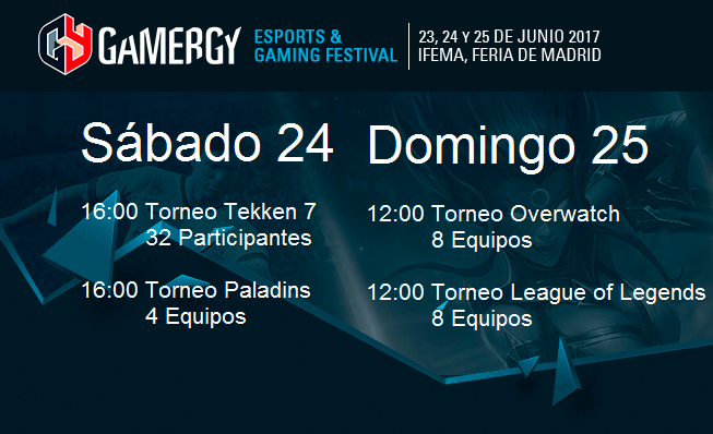Torneos Gamergy 23, 24 y 25 de Junio de 2017