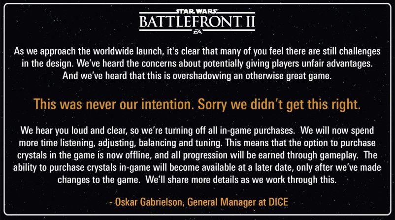 microtransacciones battlefront II