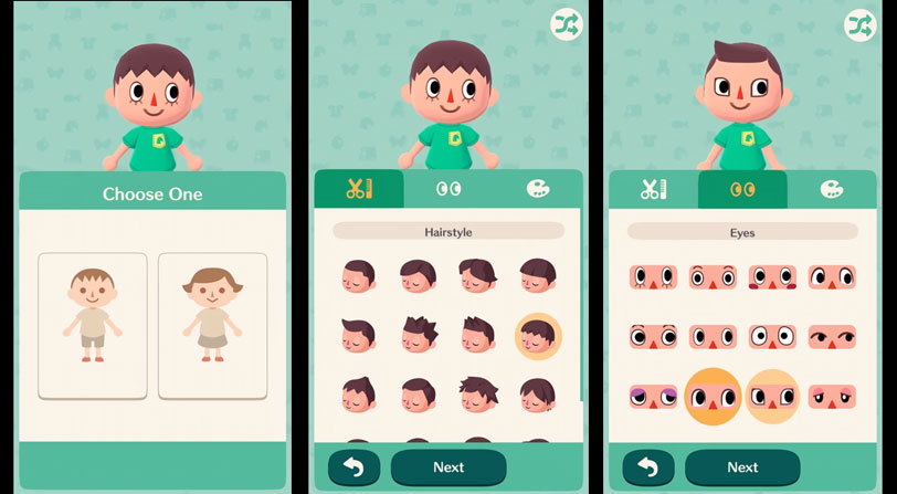 Configura tu personaje, Animal Crossing Pocket Camp
