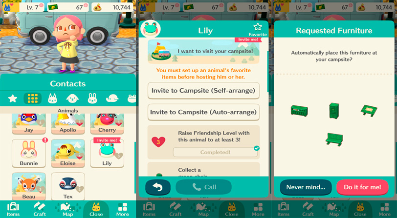 Contactos guía animal crossing pocket camp