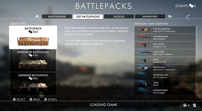 battlepacks battlefield v