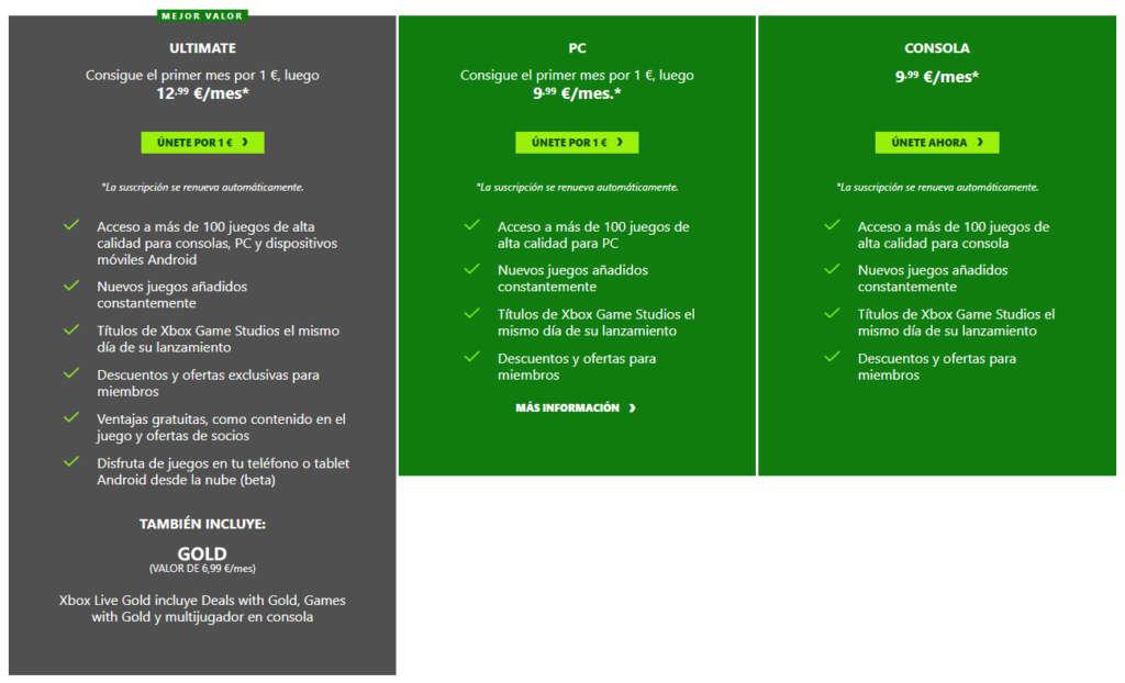 Xbox Game Pass Precios