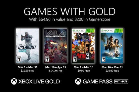 Anunciados los Games with Gold de marzo de 2021