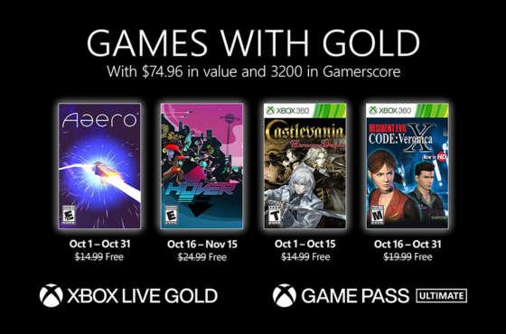 Anunciados los Games with Gold de octubre de 2021